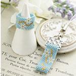 ペヨーテで編む花模様のストラップ~スノードロップ~※針糸付